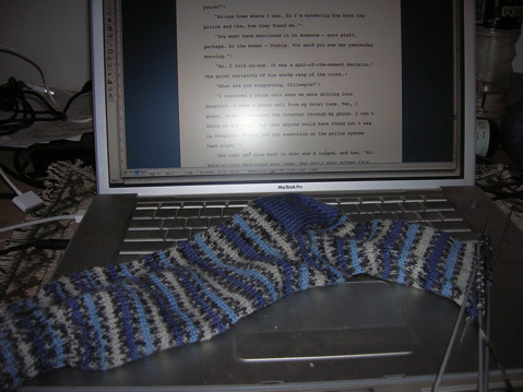 handknitted blue and gray socks